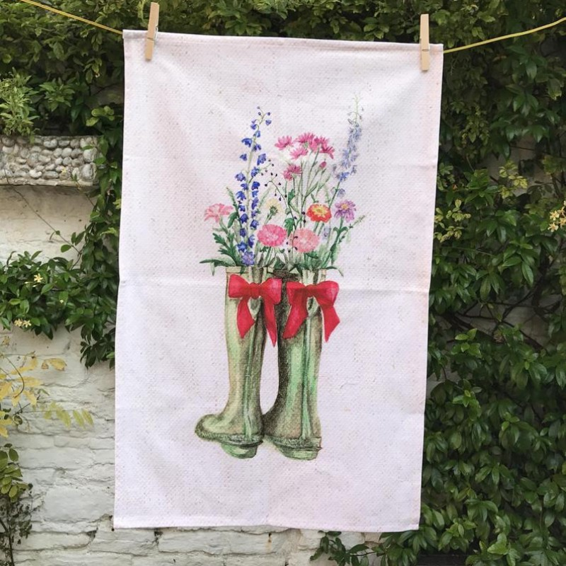 Spring Wellingtons Cotton Tea Towel By Miss Meaney's