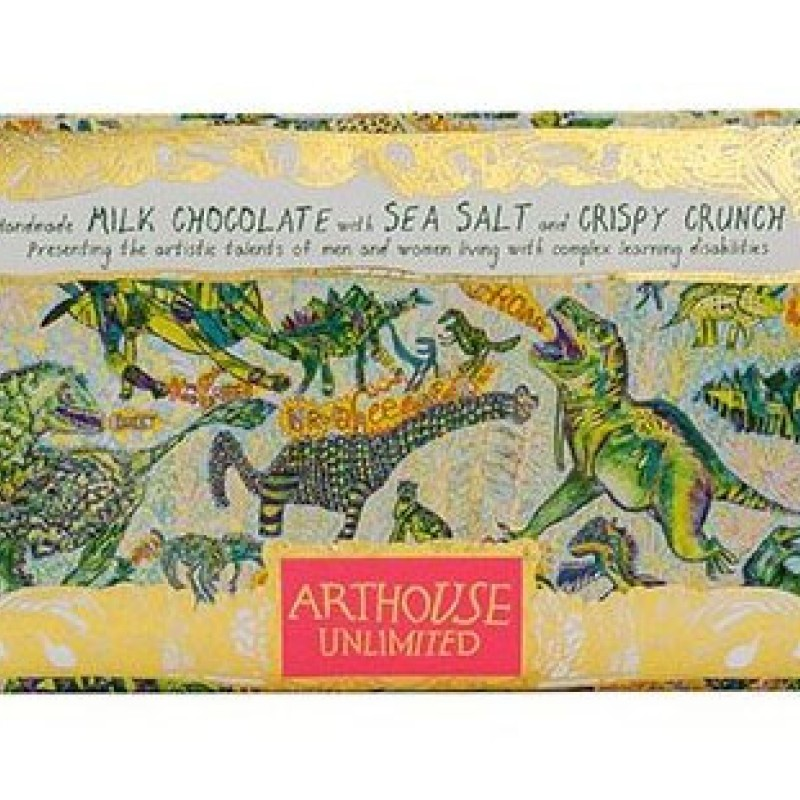 Dinosaurs Handmade Milk Chocolate with Sea Salt and Crispy Crunch by Arthouse