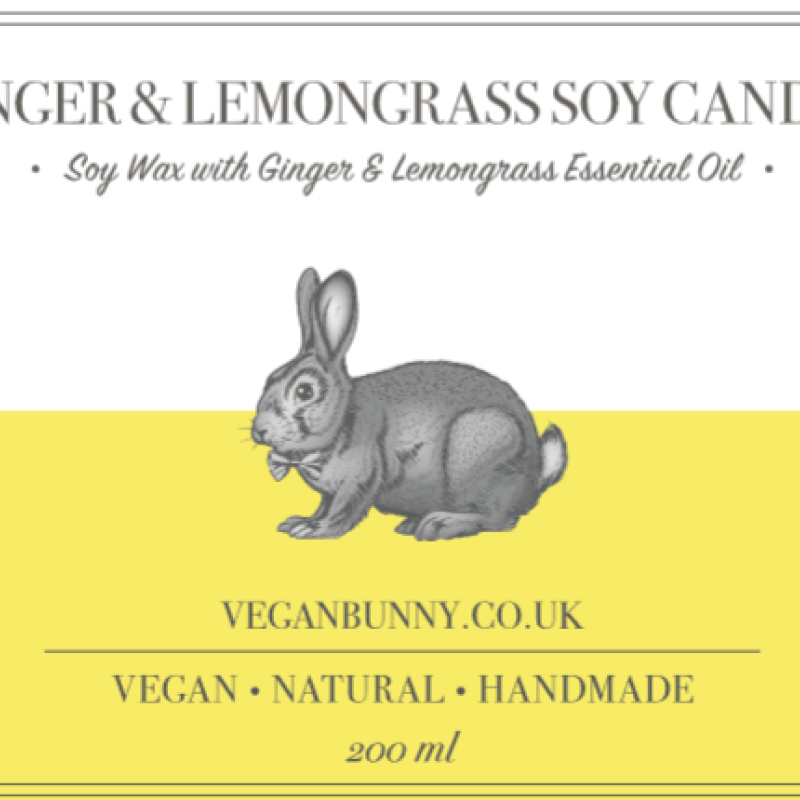 Ginger and Lemongrass Soy Candle by Vegan Bunny