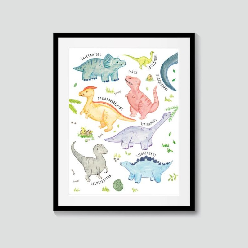 Dinosaurs A4 Poster Print by Snowtap