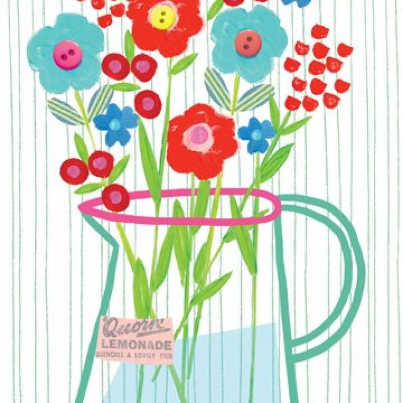 Floral Jug Blank Card by Lou Mills (EB7)