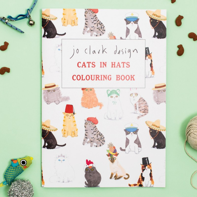 Cats In Hats Colouring Book by Jo Clark