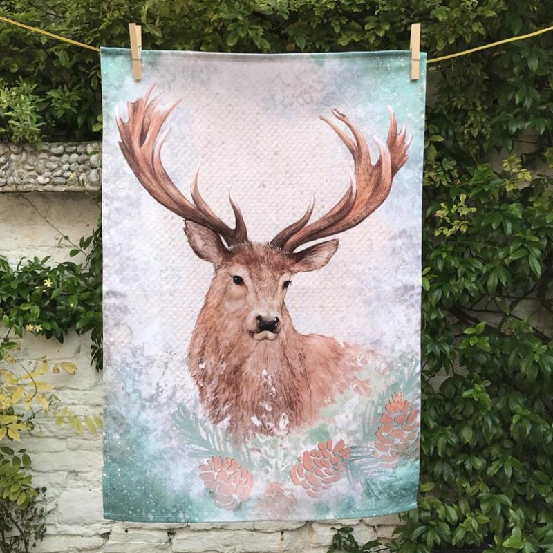 Stag Cotton Tea Towel By Miss Meaney's