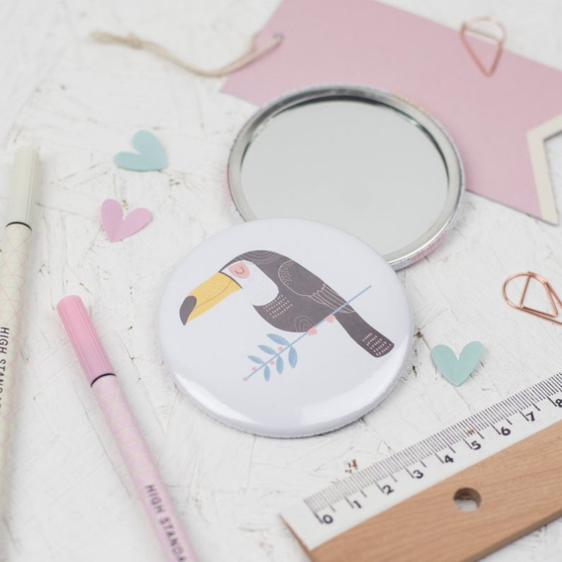 Toucan pocket mirror by Dainty Forest