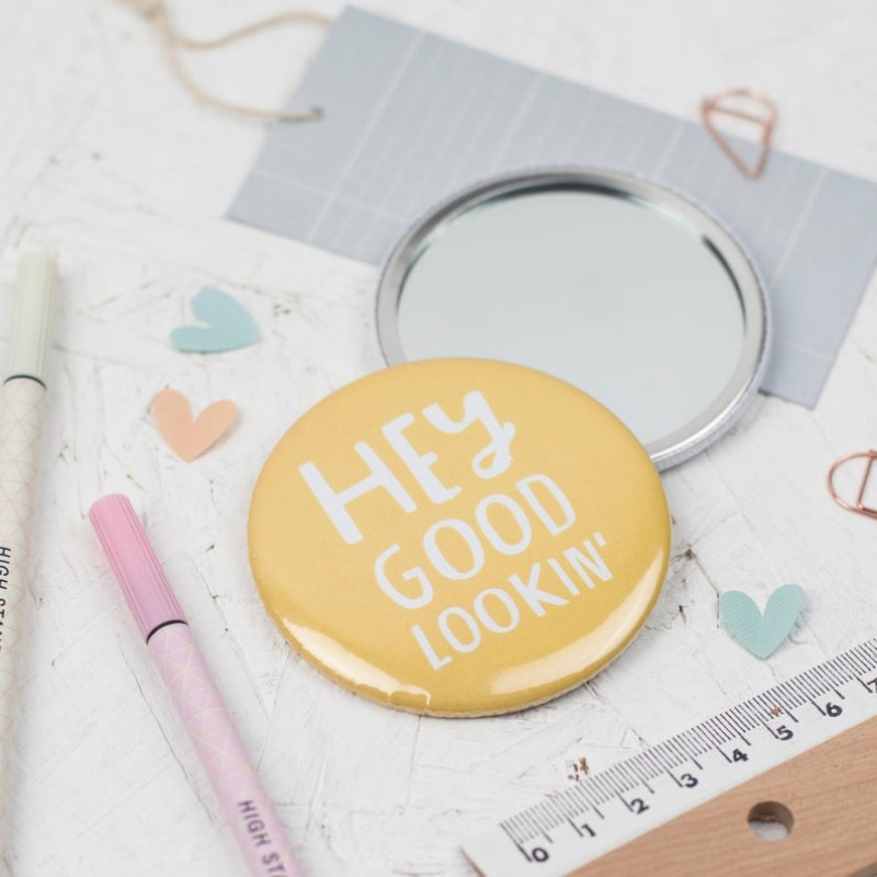 Hey good lookin' pocket mirror by Dainty Forest