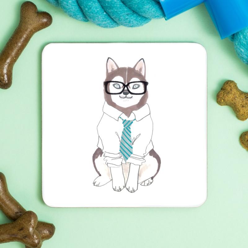 Husky Hipster Coaster by Jo Clark