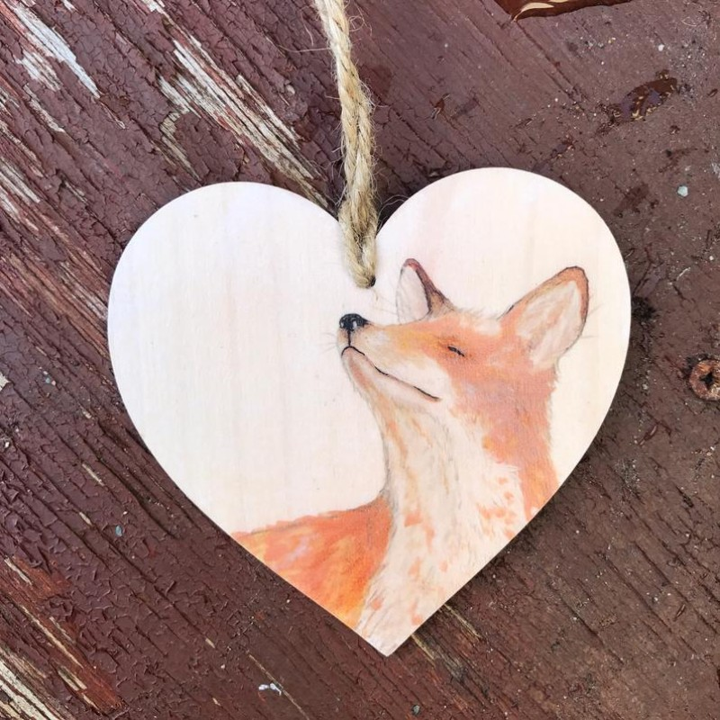 Fox Wooden Hanging decoration By Miss Meaney's