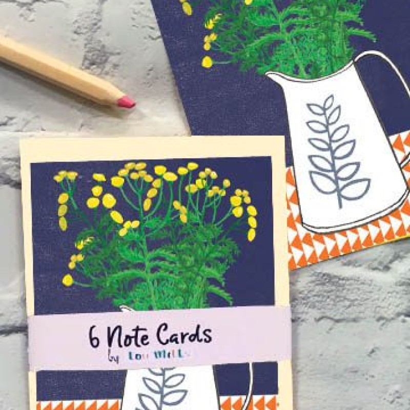 Set of 6 Note Cards Yellow Floral by Lou Mills (NOTP10)