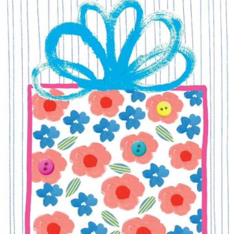 Floral Present Blank Card by Lou Mills (EB6)