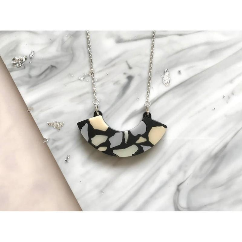 Terrazzo Tile Mini Curve Necklace by Rosa Pietsch