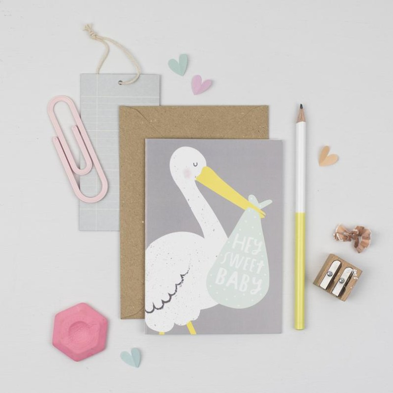 Hey sweet baby stork card by Dainty Forest