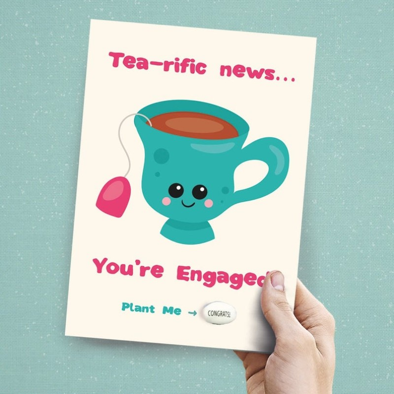 Tea – rific News! Engagement cardCard by Lucy and Lolly