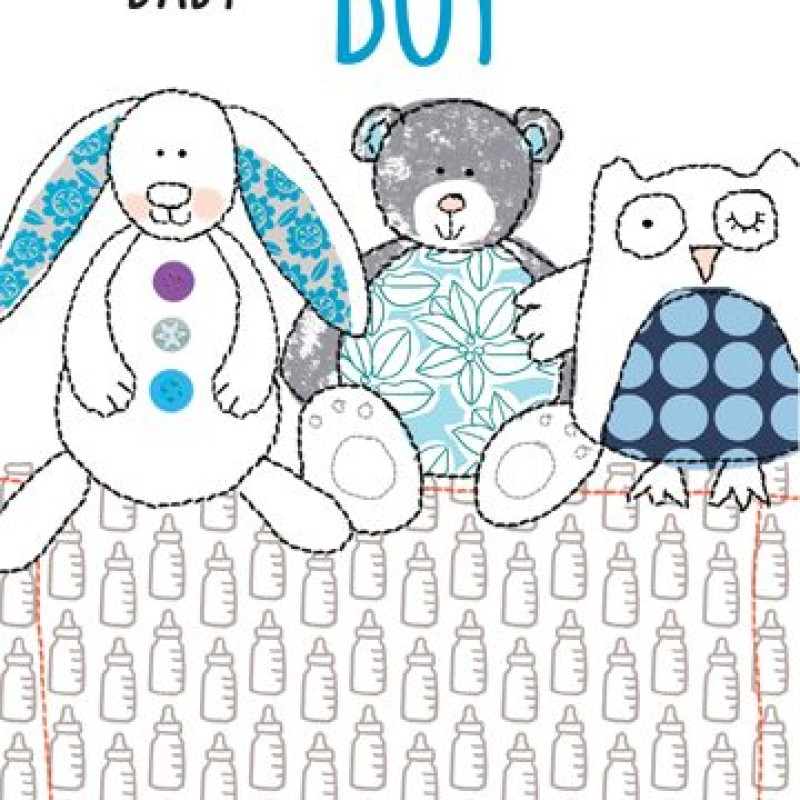 Baby Boy Teddies card by Lou Mills (TOPE8)