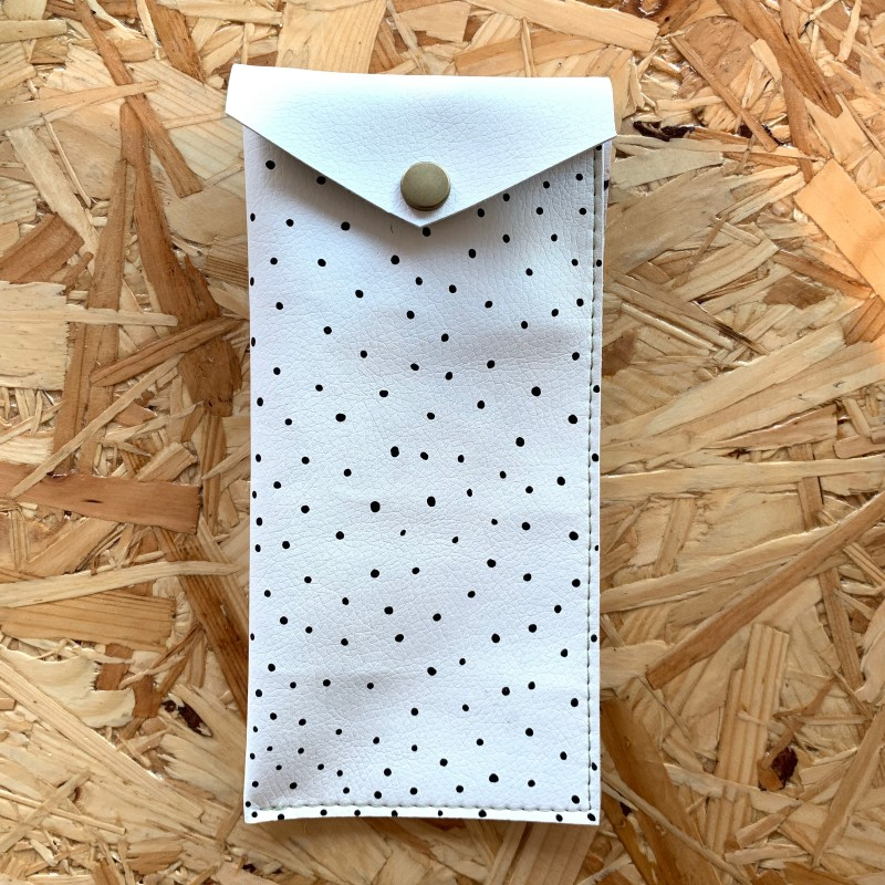 White Leather Glasses Case (Polka Dot) by Leather Notions