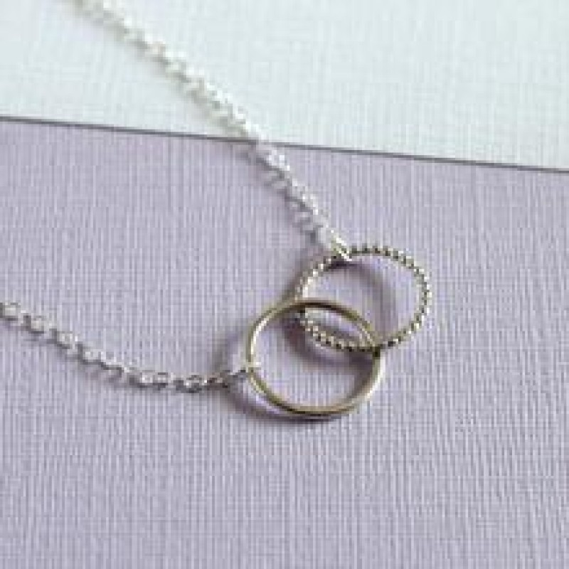 Mini Linked Circle Necklace - Sterling Silver by Mela Jewellery