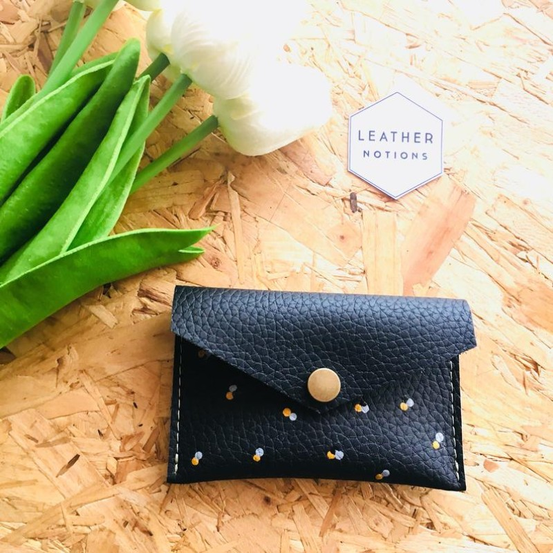Small Recycled Leather Coin Purse (Black/Polka Dot) by Leather Notions