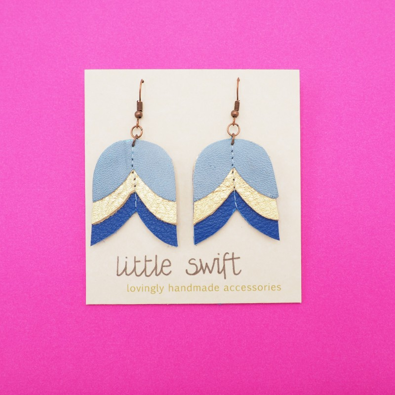 Blue/Gold Tulip, Recycled Leather Earrings by Little Swift (107)