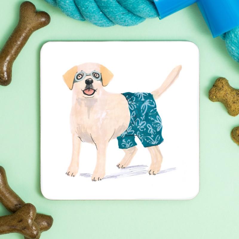 Labrador Swim Shorts Coaster by Jo Clark