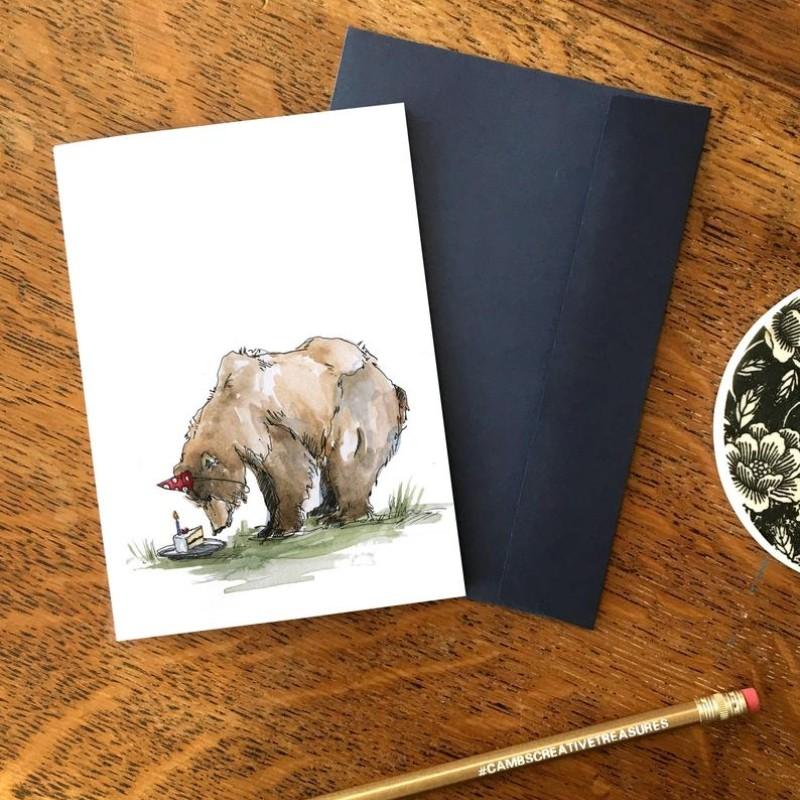 Birthday Bear with Cake Card by Snowtap