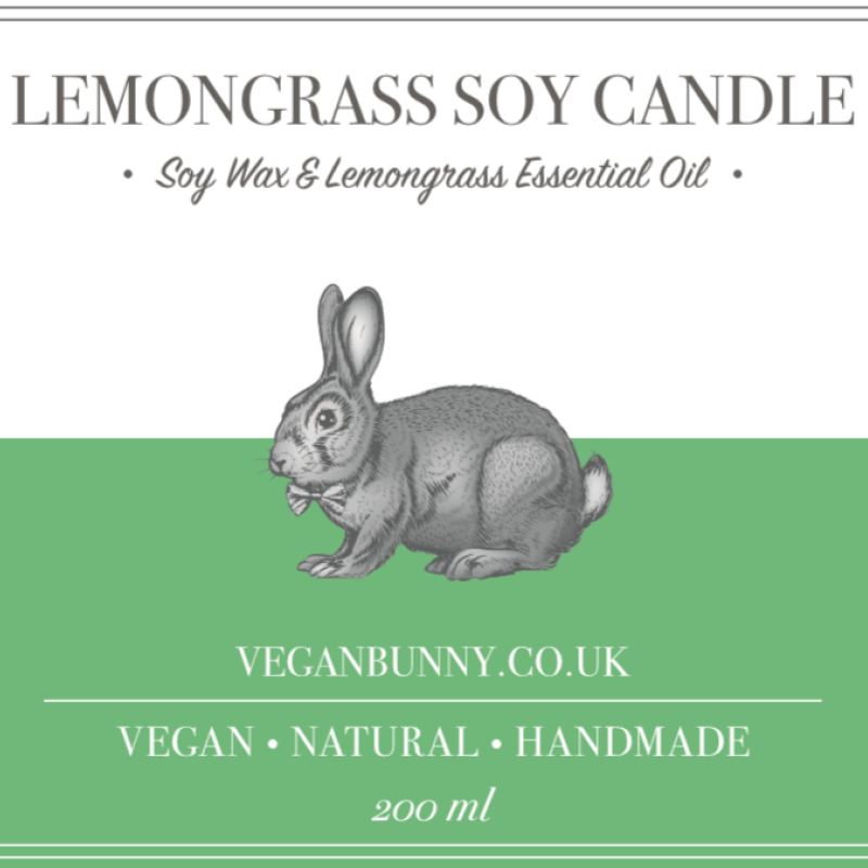 Lemongrass Soy Candle by Vegan Bunny