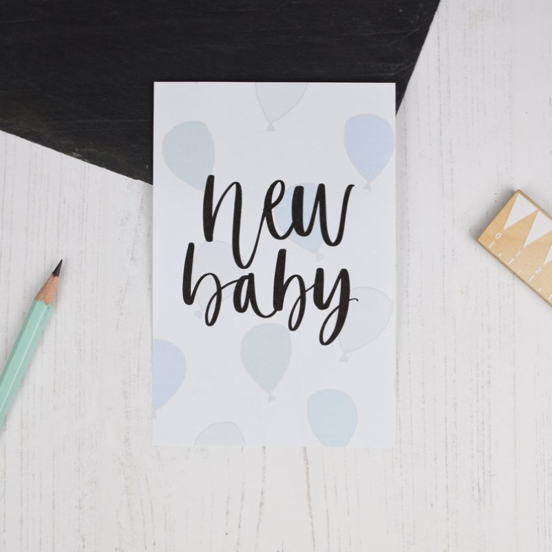 New Baby (blue) card by AV Typography