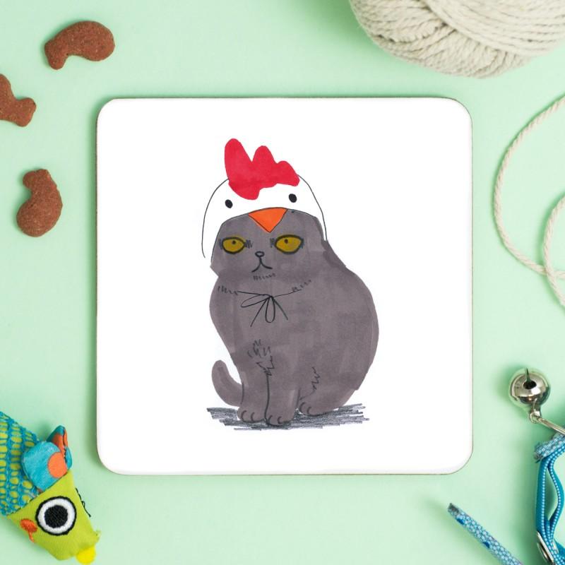 Cat In A Chicken Hat Coaster by Jo Clark
