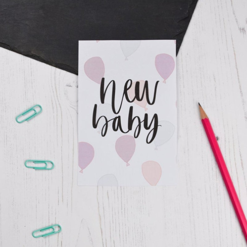 New Baby (pink) card by AV Typography
