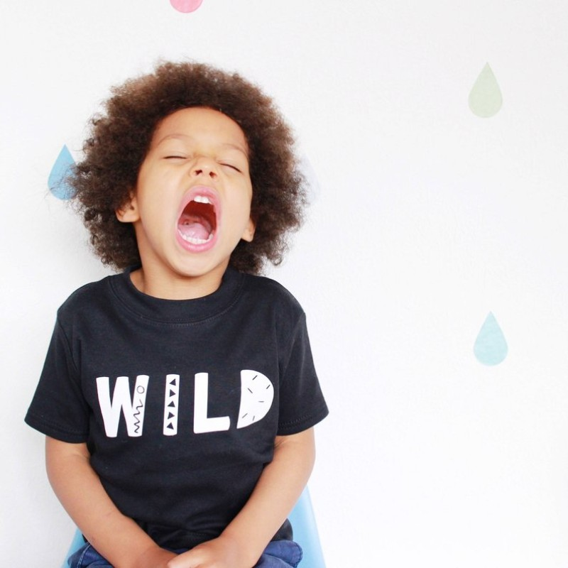 Wild childrens t-shirt in black by HahOnline