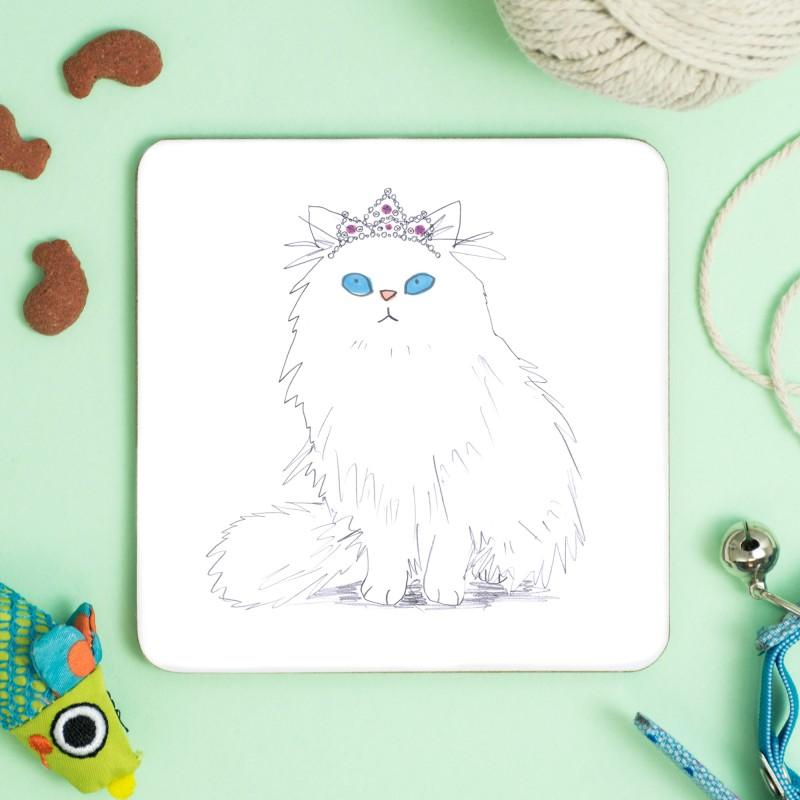 Cat In Tiara Coaster by Jo Clark