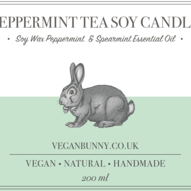 Peppermint Tea Soy Candle by Vegan Bunny