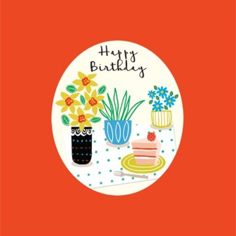 Flowers and cake Happy Birthday Card by Lou Mills (CP9)