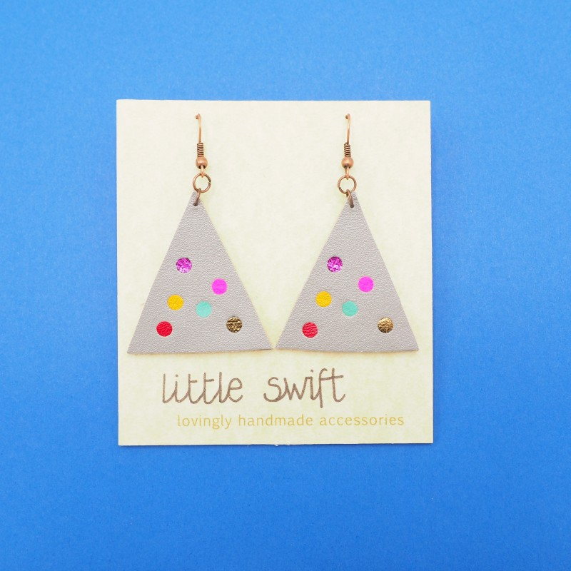 Grey Triangle Recycled Leather Earrings by Little Swift (062)