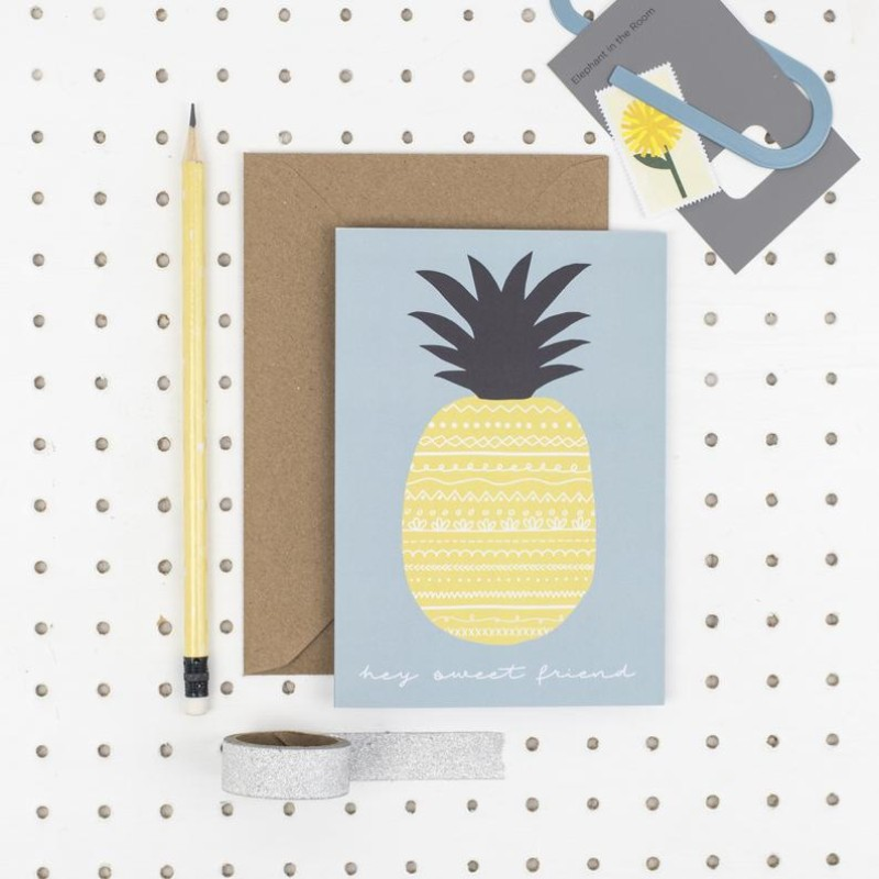 Hey sweet friend pineapple A6 card by Dainty Forest
