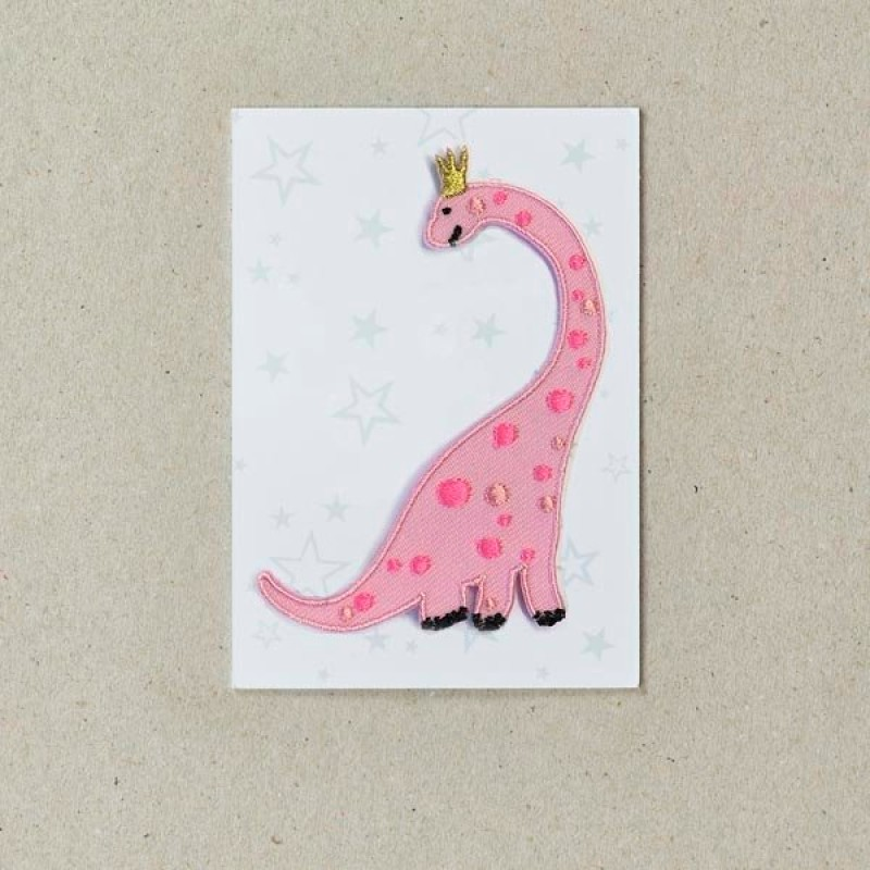 Pink Dinosaur Iron on Patch By Petra Boase