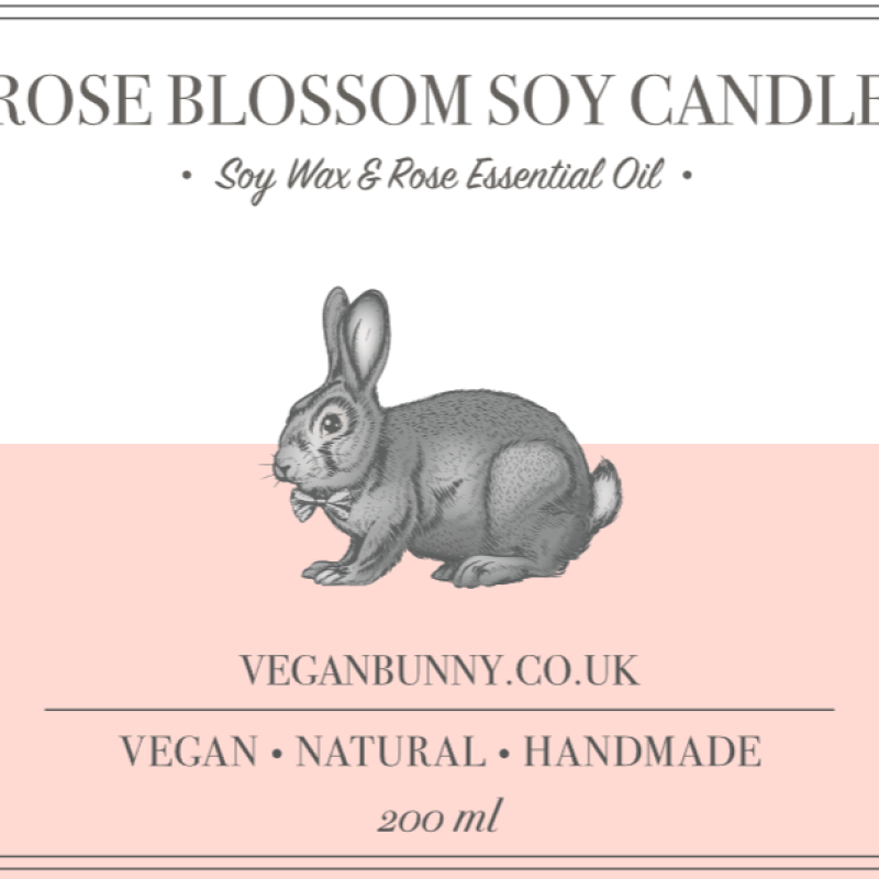 Rose Blossom Soy Candle by Vegan Bunny