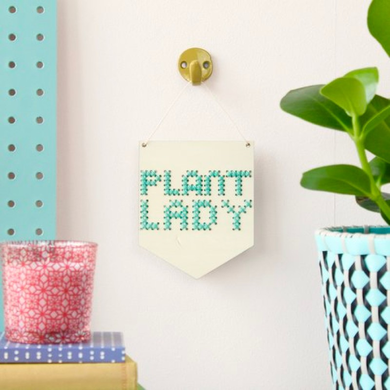 'plant lady' mini cross stitch board kit by Cotton Clara