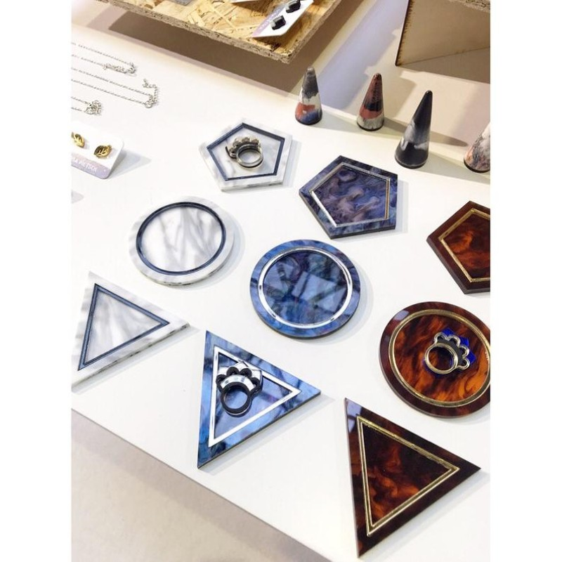 Tortoise Sell Marbled Geometric Trinket Tray (Triangle) by Rosa Pietsch