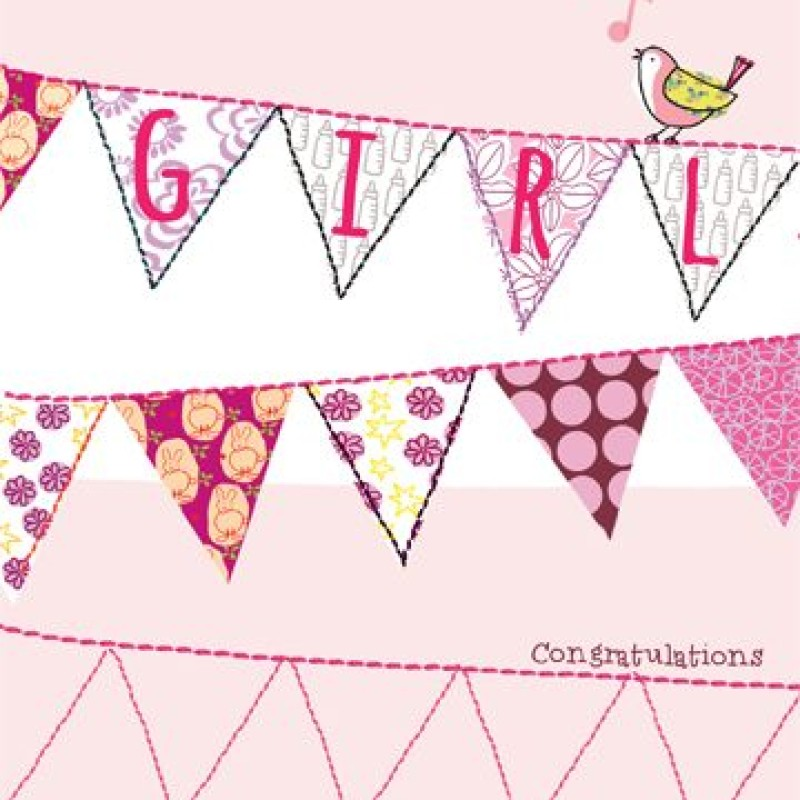 Baby Girl Bunting card by Lou Mills (TOPE3)