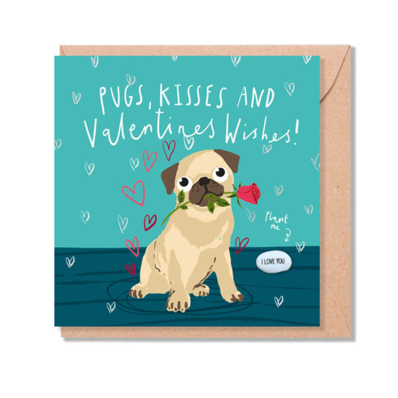 PUGS, KISSES AND VALENTINES WISHES Card by Lucy and Lolly