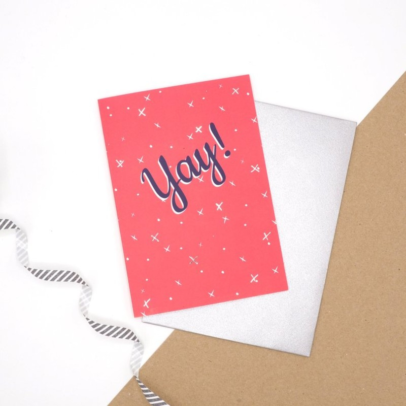 Yay red/silver Card by Harriet Emily