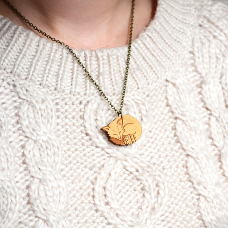 Mini Wooden Fox Necklace by Layla Amber