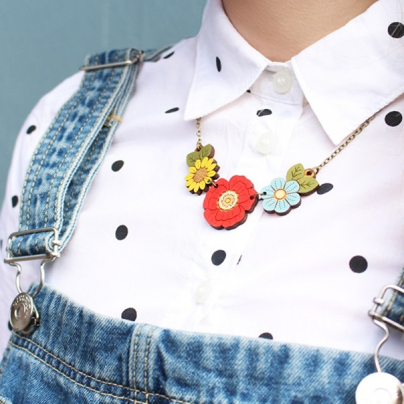 Poppy and Wild Flowers Necklace by Layla Amber