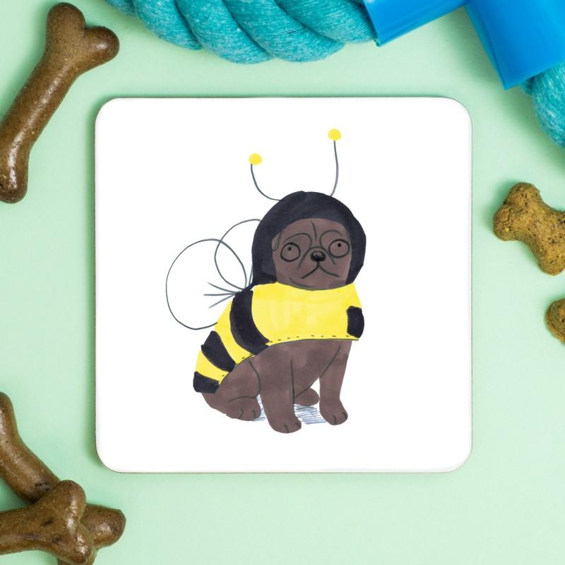 Pug Bee Coaster by Jo Clark