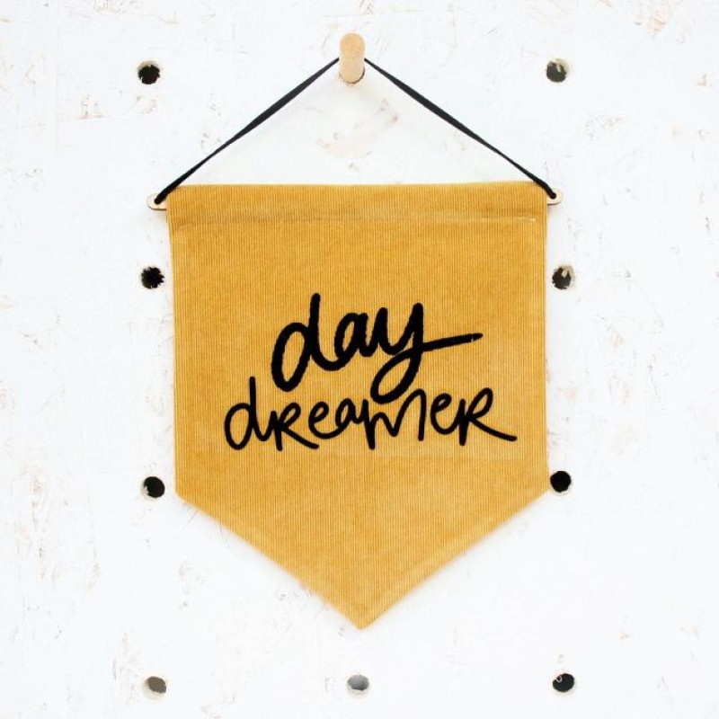 'Day dreamer' fabric pennant flag (mustard/black) by Daphne Rosa