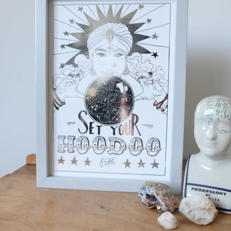 Set Your Hoodoo Free Metallic Foiled A4 Print by Deborah Panesar Illustrations