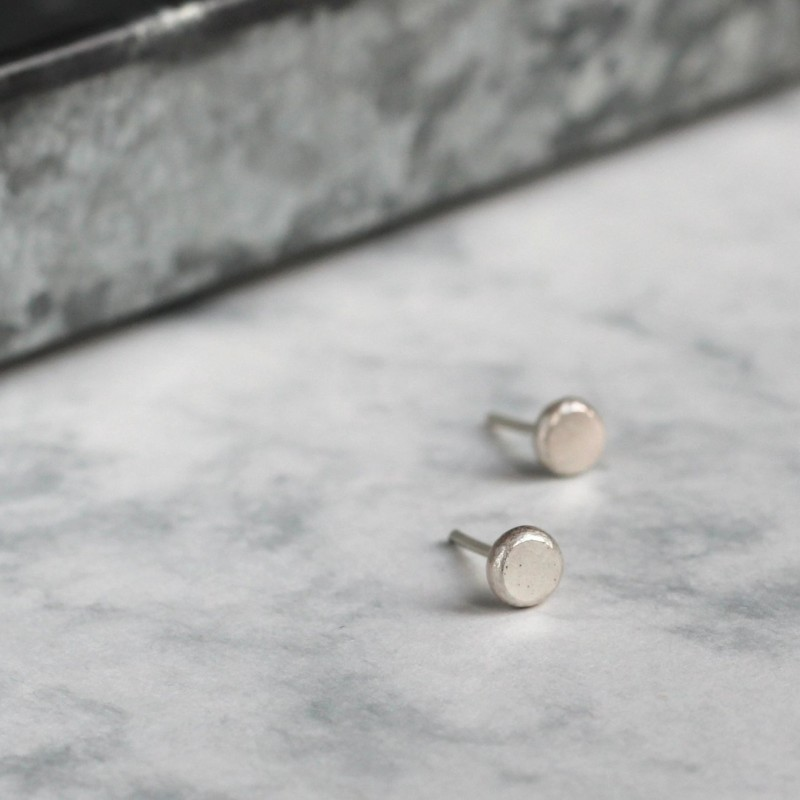 Simple Recycled Silver Studs by Mela Jewellery