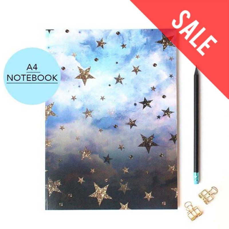 SALE Cloudy Stars celestial A4 Notebook with lined pages by Nikki Strange