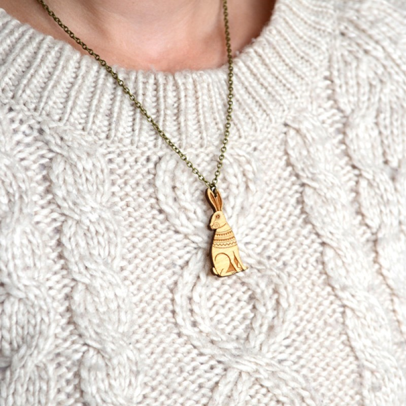 Mini Wooden Hare Necklace by Layla Amber