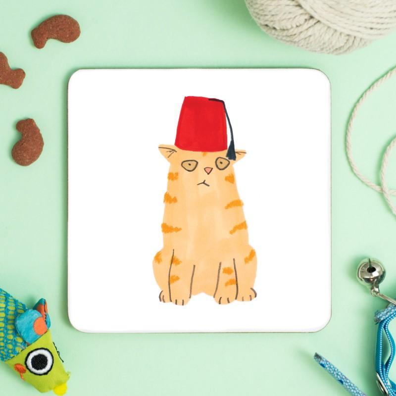 Cat In Fez Hat Coaster by Jo Clark
