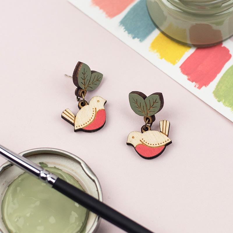 Red Robin Drop Stud Earrings by Layla Amber